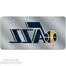 Utah Jazz Silver Deluxe Laser Cut Mirrored License Plate Tag