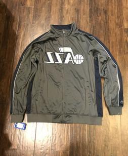 NEW UTAH JAZZ NBA Gray L/S Performance Full Zip Track Jacket