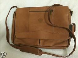 Pangea Tan Leather Laptop Messenger Bag - Utah Jazz