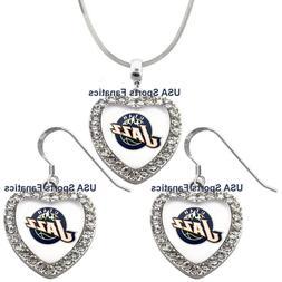 Utah Jazz 925 Necklace/ Earrings or Set Team Heart With Rhin