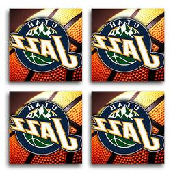 Utah Jazz Basketball Rubber Square Coaster set  SRC2058