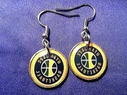 Utah Jazz earrings on Roosevelt dime