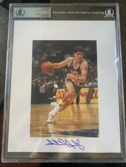 Utah Jazz John Stockton 8x10 Leaf Photo Autograph. Beckett A