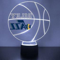 Utah Jazz LED Night Light, Personalized FREE, Basketball LED