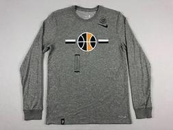 Utah Jazz Nike Long Sleeve Shirt Men's Gray Dri-Fit Cotton N