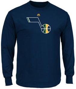 Utah Jazz Mens Blue Majestic Logo 2 Long Sleeve T Shirt