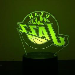 UTAH JAZZ NBA JERSEY BASKETBALL 3D Acrylic LED 7 Colour Nigh