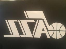 UTAH JAZZ NBA WHITE VINYL STICKER / DECAL