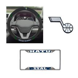 Utah Jazz Steering Wheel Cover, License Plate Frame, 3D Chro