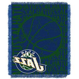 Utah Jazz Woven Jacquard Tapestry Throw Blanket Spread